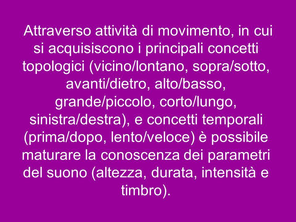 Attraverso attività di movimento, in cui si acquisiscono i principali concetti topologici (vicino/lontano, sopra/sotto, avanti/dietro, alto/basso, grande/piccolo, corto/lungo, sinistra/destra), e concetti temporali (prima/dopo, lento/veloce) è possibile maturare la conoscenza dei parametri del suono (altezza, durata, intensità e timbro).