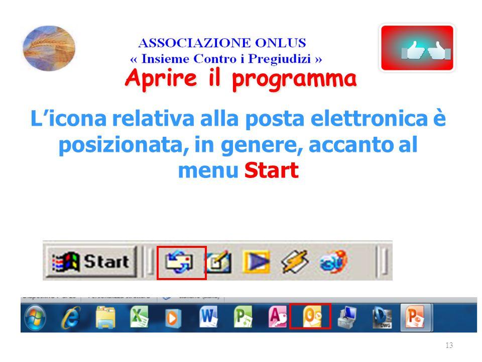Aprire il programma L'icona relativa alla posta elettronica è posizionata, in genere, accanto al menu Start.