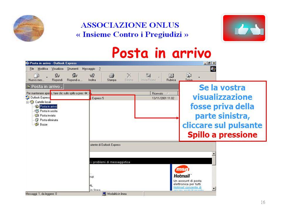Posta in arrivo Se la vostra visualizzazione fosse priva della parte sinistra, cliccare sul pulsante Spillo a pressione.