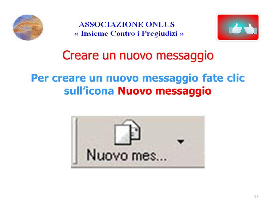 Per creare un nuovo messaggio fate clic sull'icona Nuovo messaggio