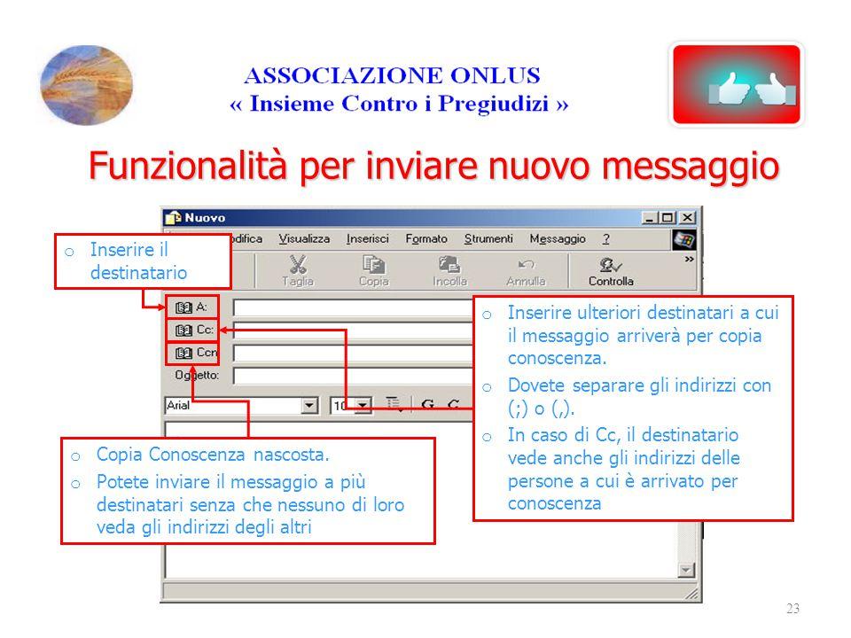 Funzionalità per inviare nuovo messaggio