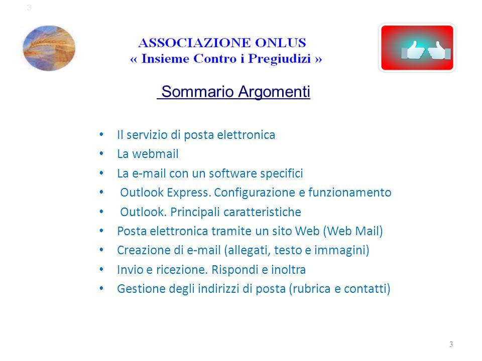 Sommario Argomenti Il servizio di posta elettronica La webmail