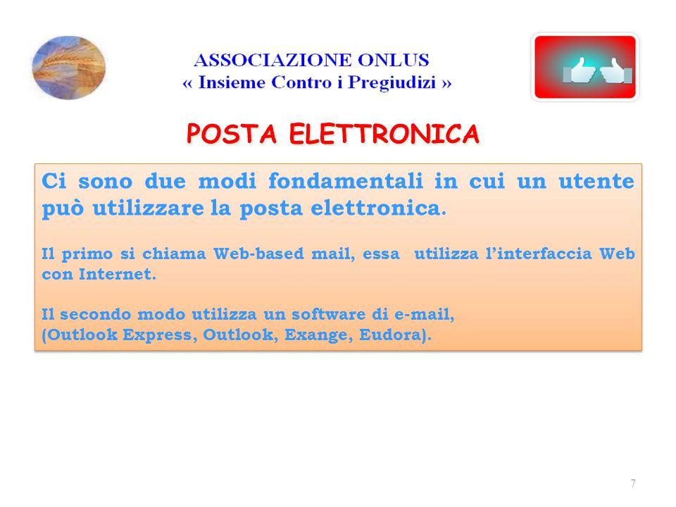 18/04/2017 POSTA ELETTRONICA. Ci sono due modi fondamentali in cui un utente può utilizzare la posta elettronica.