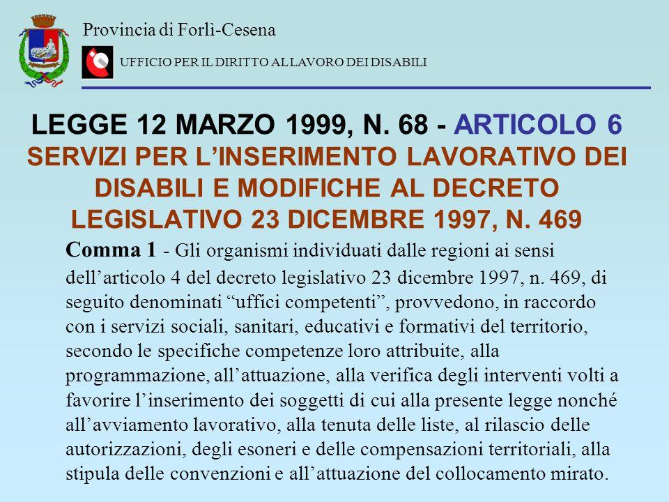 LEGGE 12 MARZO 1999, N. 68 - ARTICOLO 6 SERVIZI PER L'INSERIMENTO LAVORATIVO DEI DISABILI E MODIFICHE AL DECRETO LEGISLATIVO 23 DICEMBRE 1997, N. 469
