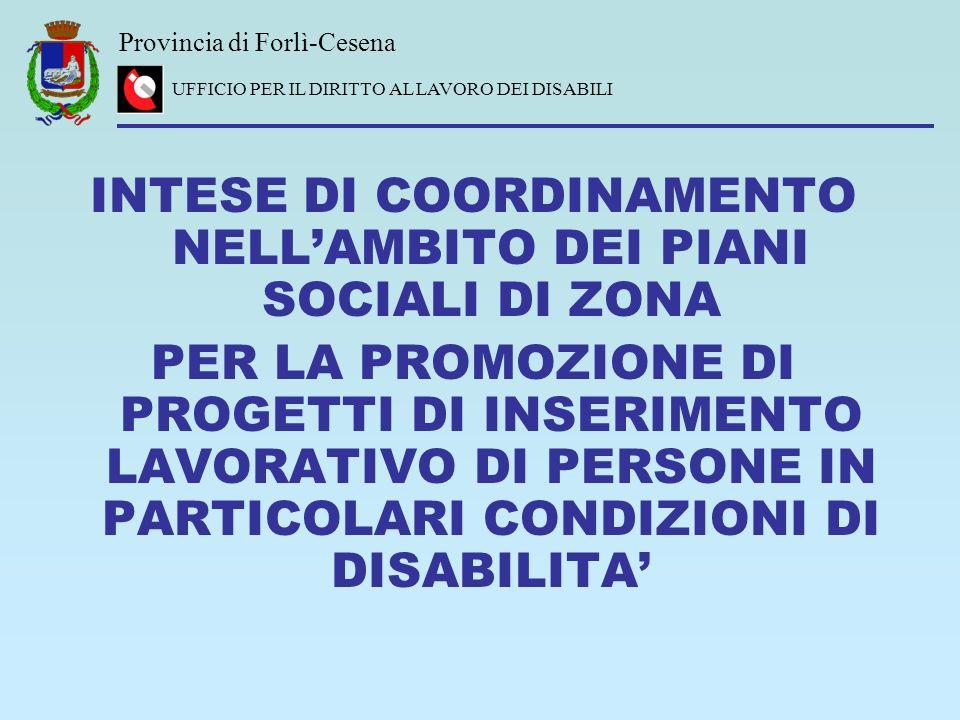 INTESE DI COORDINAMENTO NELL'AMBITO DEI PIANI SOCIALI DI ZONA