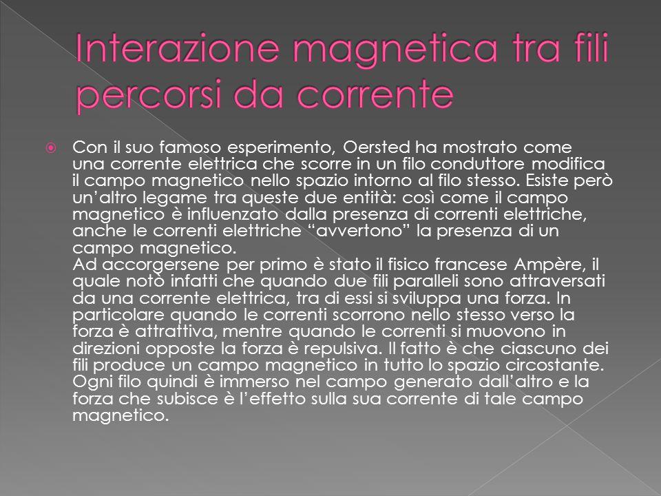 Interazione magnetica tra fili percorsi da corrente