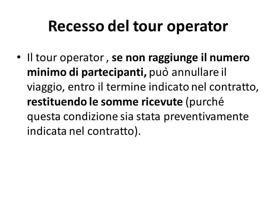 Recesso del tour operator