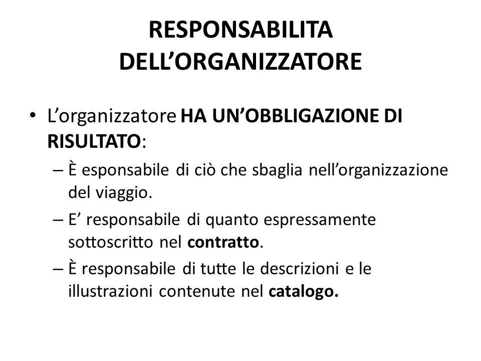 RESPONSABILITA DELL'ORGANIZZATORE