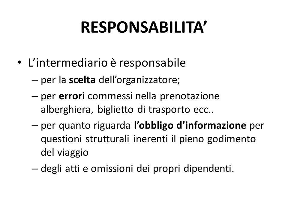 RESPONSABILITA' L'intermediario è responsabile