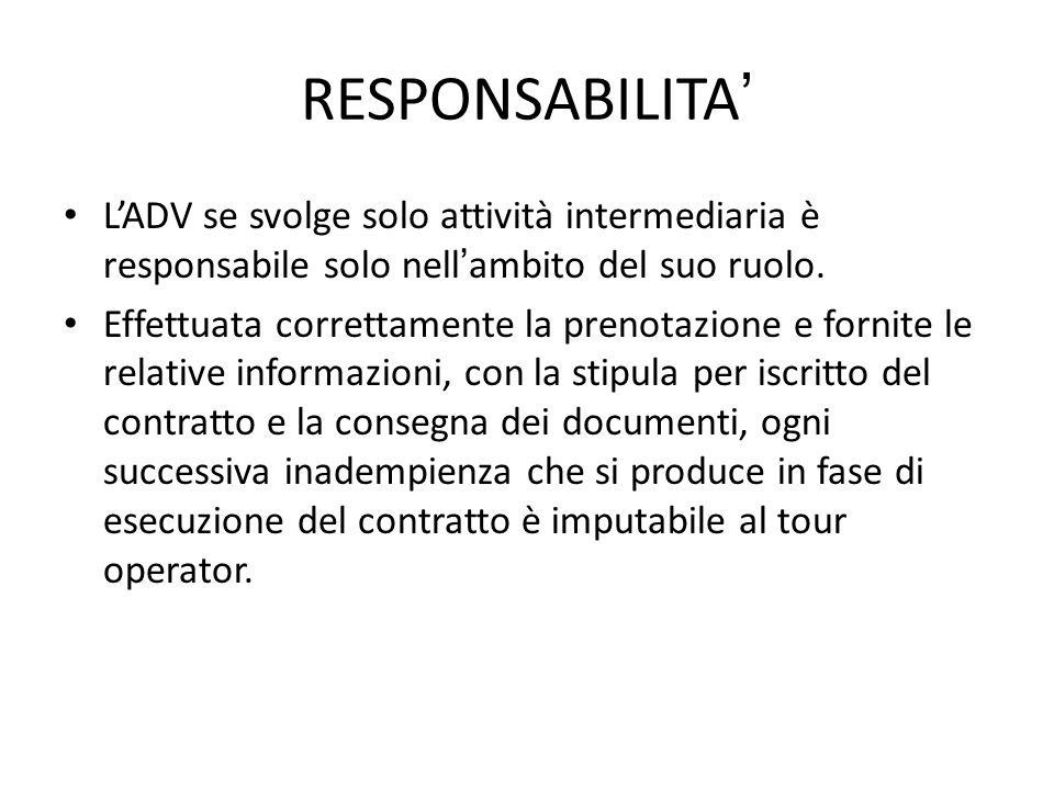 RESPONSABILITA' L'ADV se svolge solo attività intermediaria è responsabile solo nell'ambito del suo ruolo.