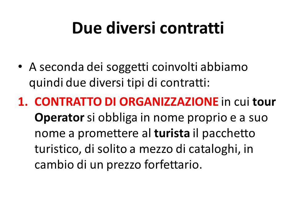Due diversi contratti A seconda dei soggetti coinvolti abbiamo quindi due diversi tipi di contratti: