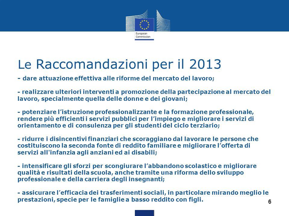 Le Raccomandazioni per il 2013