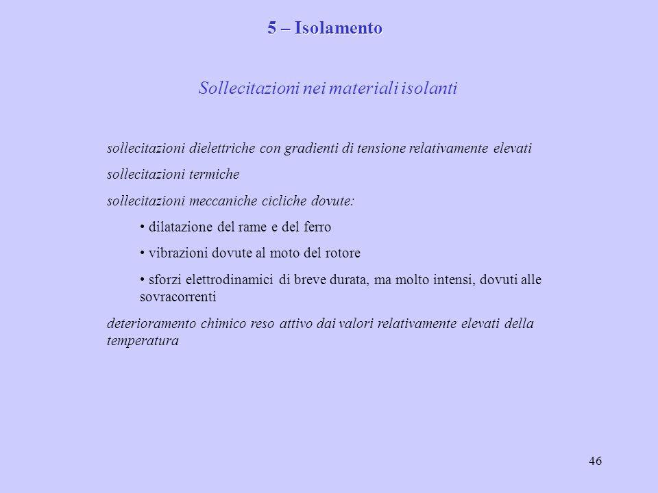 Sollecitazioni nei materiali isolanti