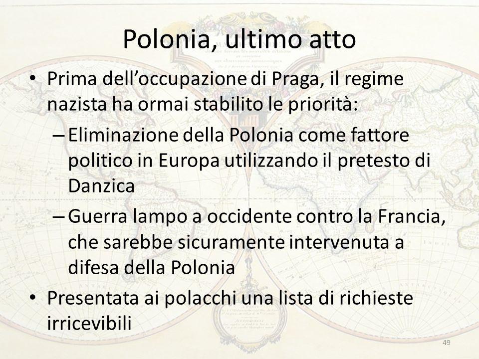 Polonia, ultimo atto Prima dell'occupazione di Praga, il regime nazista ha ormai stabilito le priorità:
