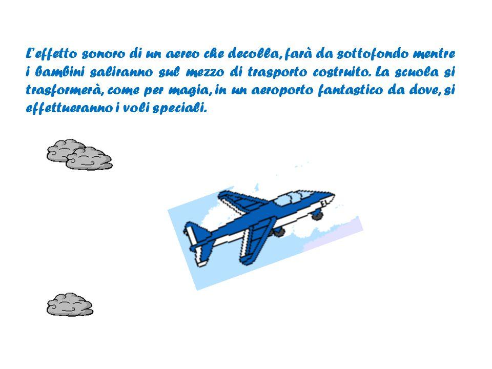 L'effetto sonoro di un aereo che decolla, farà da sottofondo mentre i bambini saliranno sul mezzo di trasporto costruito.