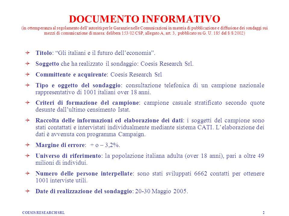 DOCUMENTO INFORMATIVO (in ottemperanza al regolamento dell'autorità per le Garanzie nelle Comunicazioni in materia di pubblicazione e diffusione dei sondaggi sui mezzi di comunicazione di massa: delibera 153/02/CSP, allegato A, art. 3, pubblicato su G. U. 185 del 8/8/2002)