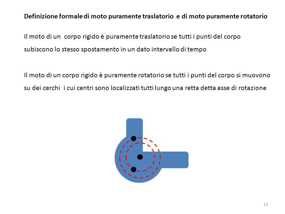 Definizione formale di moto puramente traslatorio e di moto puramente rotatorio
