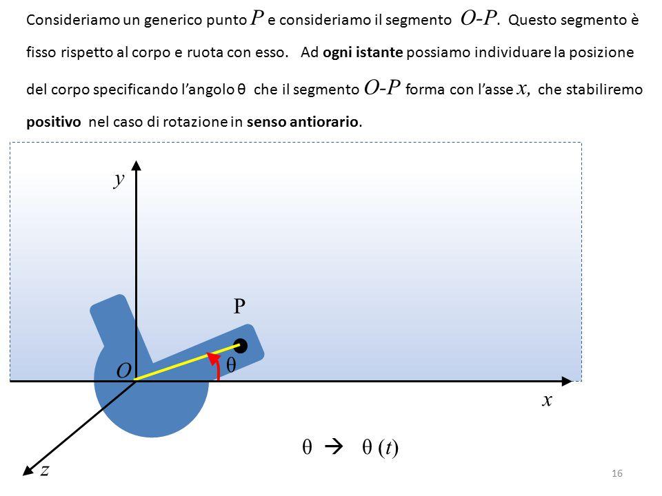 Consideriamo un generico punto P e consideriamo il segmento O-P