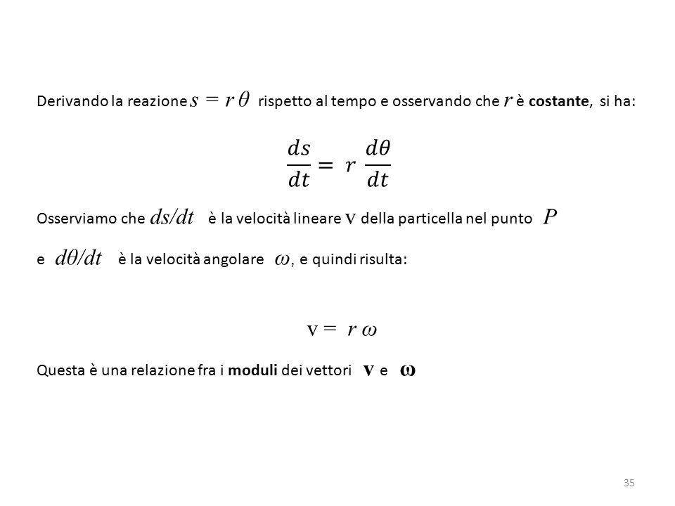 Derivando la reazione s = r θ rispetto al tempo e osservando che r è costante, si ha: