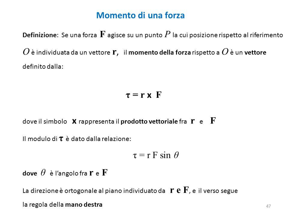 Momento di una forza Definizione: Se una forza F agisce su un punto P la cui posizione rispetto al riferimento.