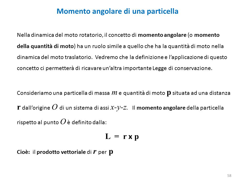 Momento angolare di una particella
