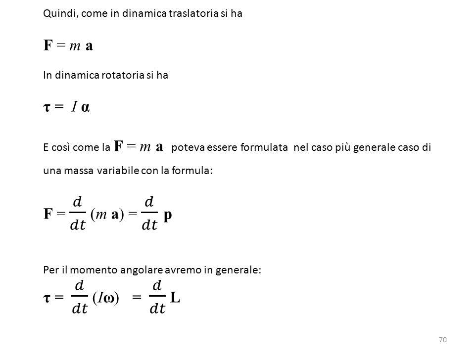 F = m a τ = I α F = 𝑑 𝑑𝑡 (m a) = 𝑑 𝑑𝑡 p τ = 𝑑 𝑑𝑡 (Iω) = 𝑑 𝑑𝑡 L