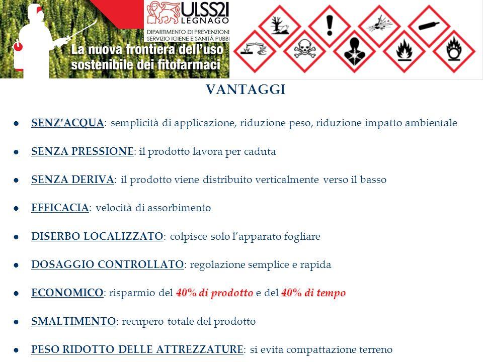 VANTAGGI SENZ'ACQUA: semplicità di applicazione, riduzione peso, riduzione impatto ambientale. SENZA PRESSIONE: il prodotto lavora per caduta.