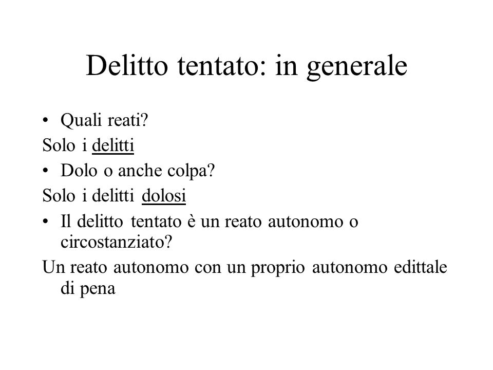 Delitto tentato: in generale