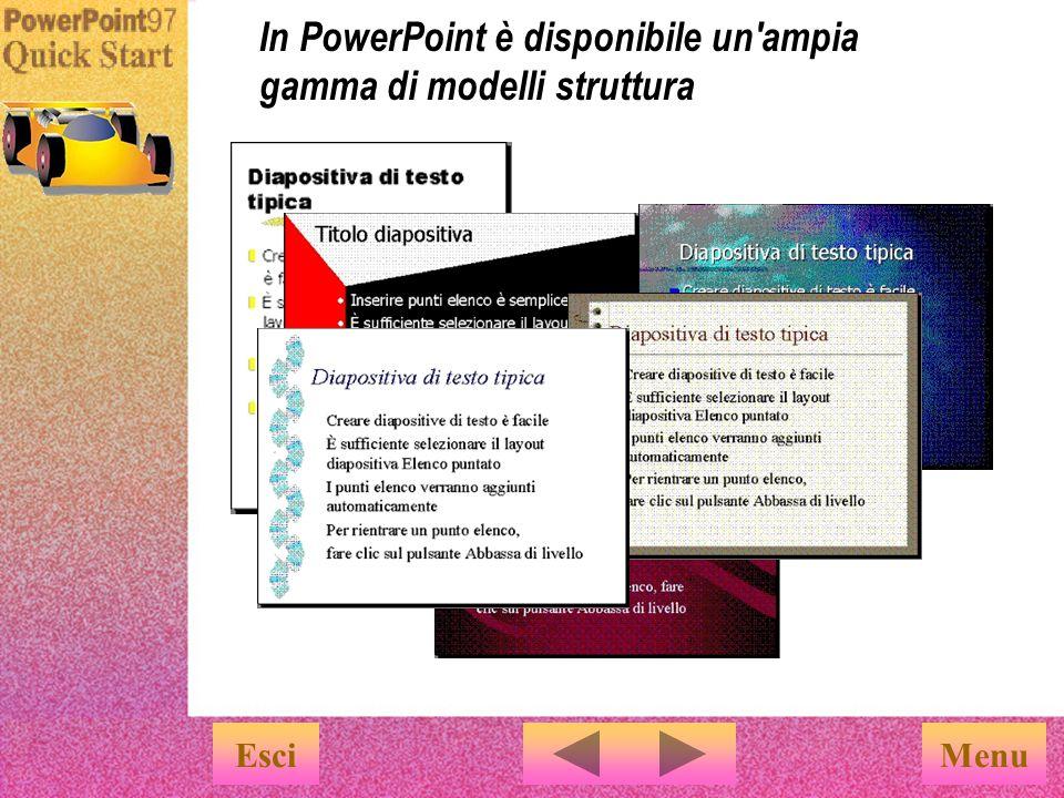 In PowerPoint è disponibile un ampia gamma di modelli struttura