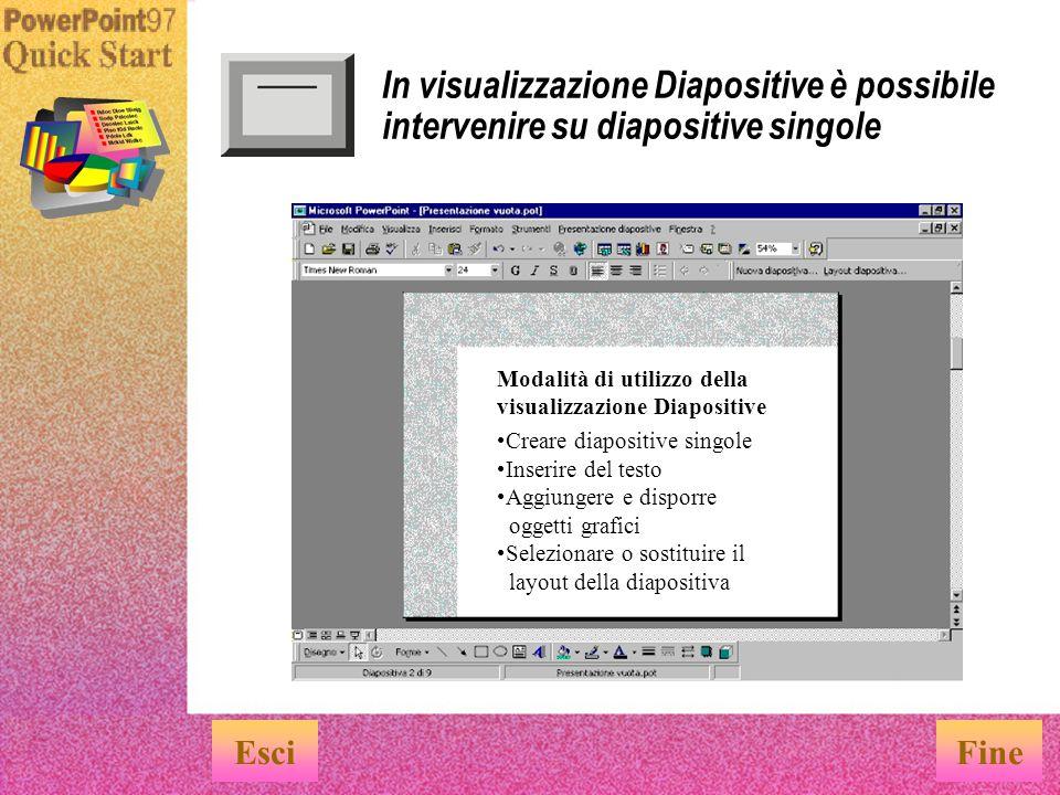 In visualizzazione Diapositive è possibile intervenire su diapositive singole