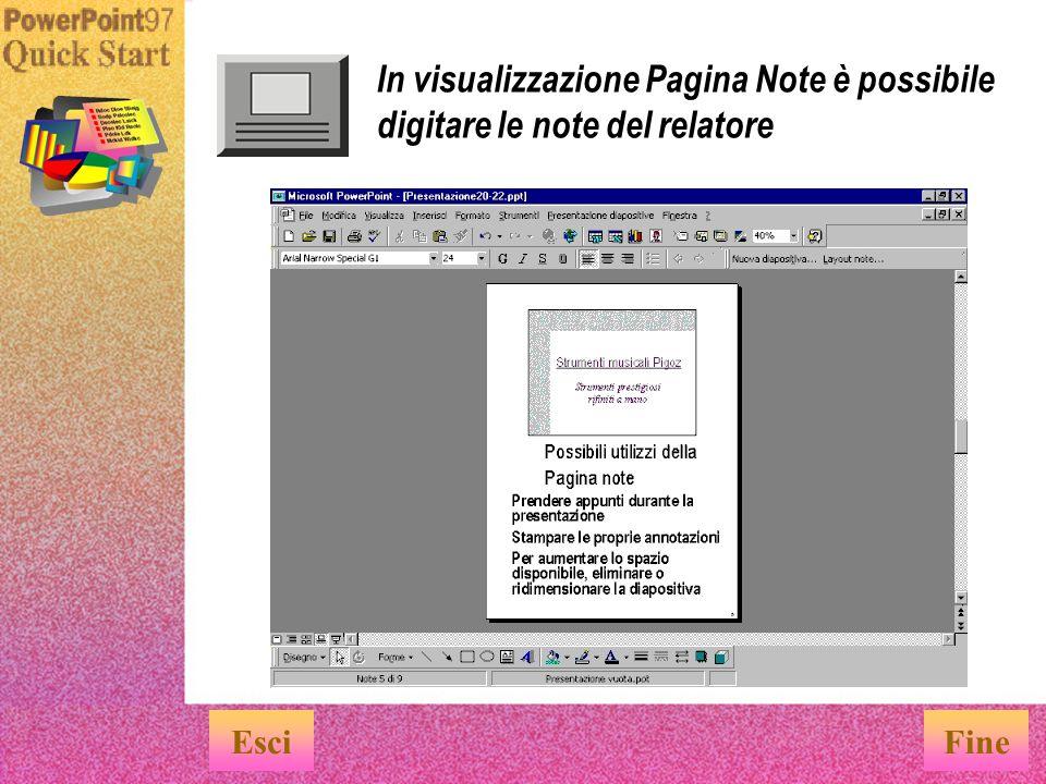 In visualizzazione Pagina Note è possibile digitare le note del relatore