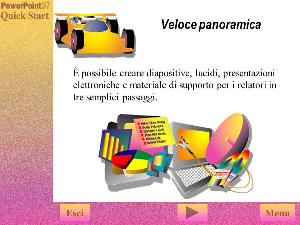 Veloce panoramica È possibile creare diapositive, lucidi, presentazioni elettroniche e materiale di supporto per i relatori in tre semplici passaggi.
