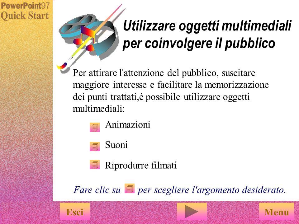 Utilizzare oggetti multimediali per coinvolgere il pubblico