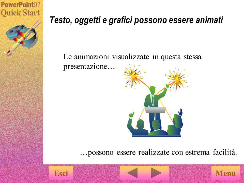 Testo, oggetti e grafici possono essere animati