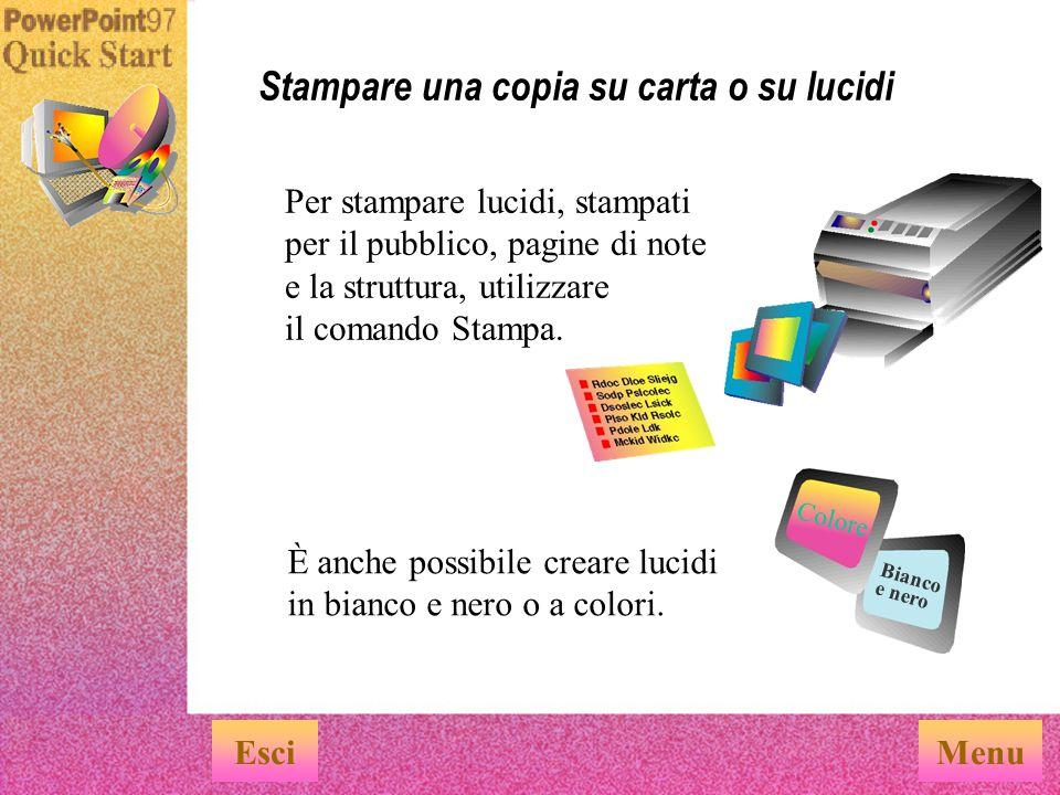 Stampare una copia su carta o su lucidi