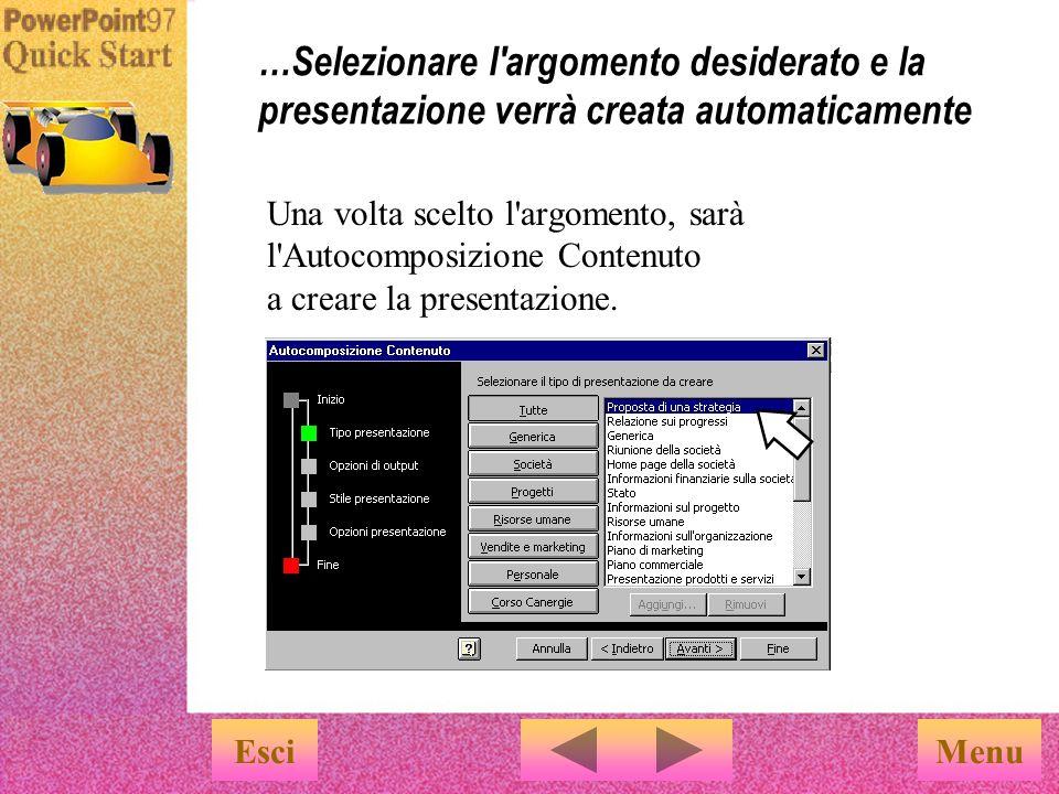 …Selezionare l argomento desiderato e la presentazione verrà creata automaticamente