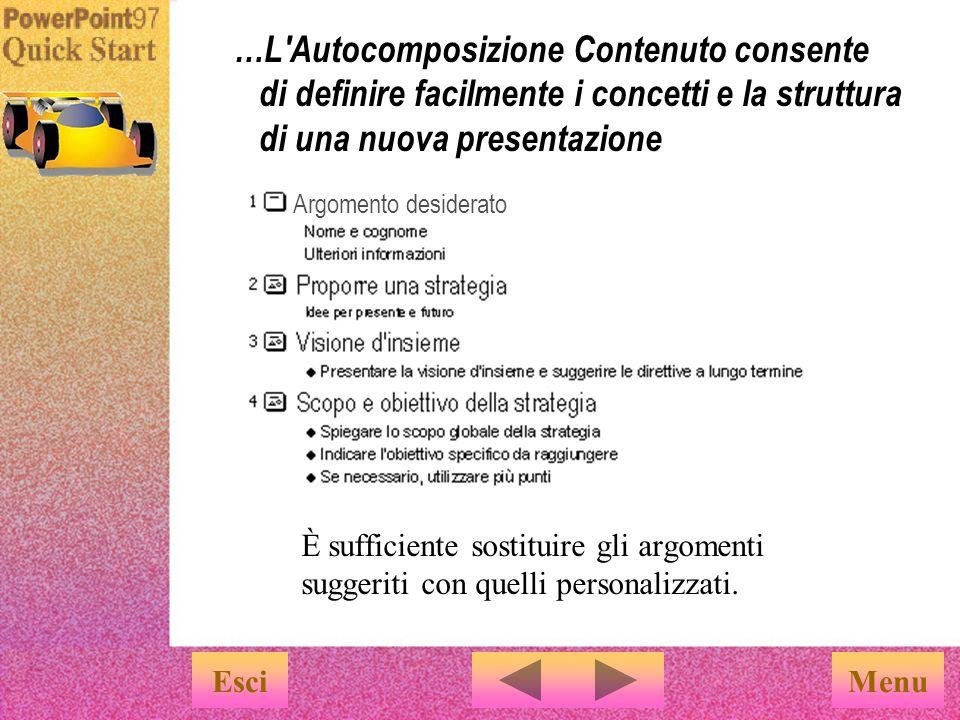 …L Autocomposizione Contenuto consente di definire facilmente i concetti e la struttura di una nuova presentazione