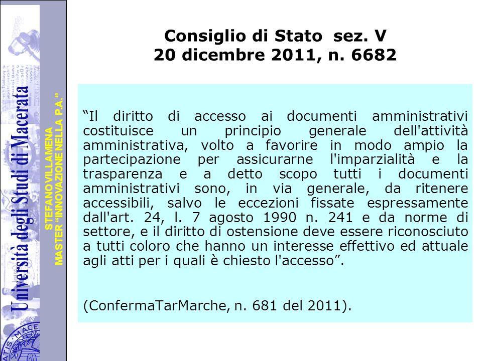Consiglio di Stato sez. V 20 dicembre 2011, n. 6682