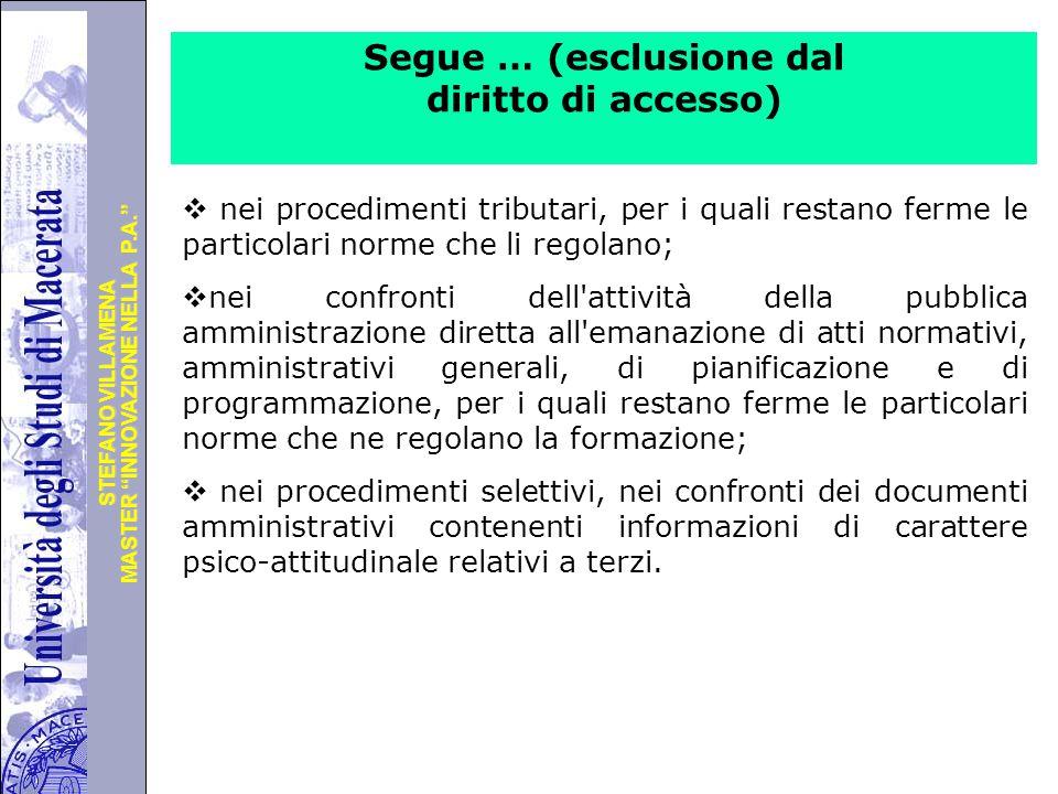 Segue … (esclusione dal diritto di accesso)