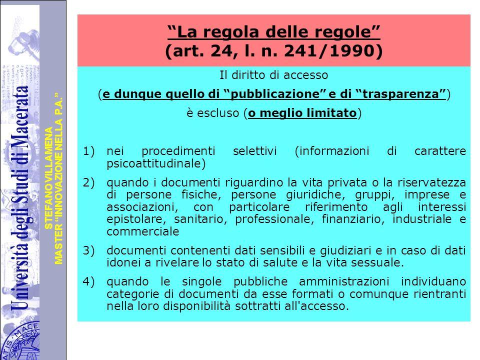 La regola delle regole (art. 24, l. n. 241/1990)