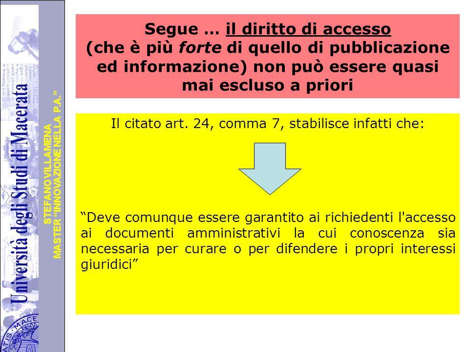 Segue … il diritto di accesso (che è più forte di quello di pubblicazione ed informazione) non può essere quasi mai escluso a priori