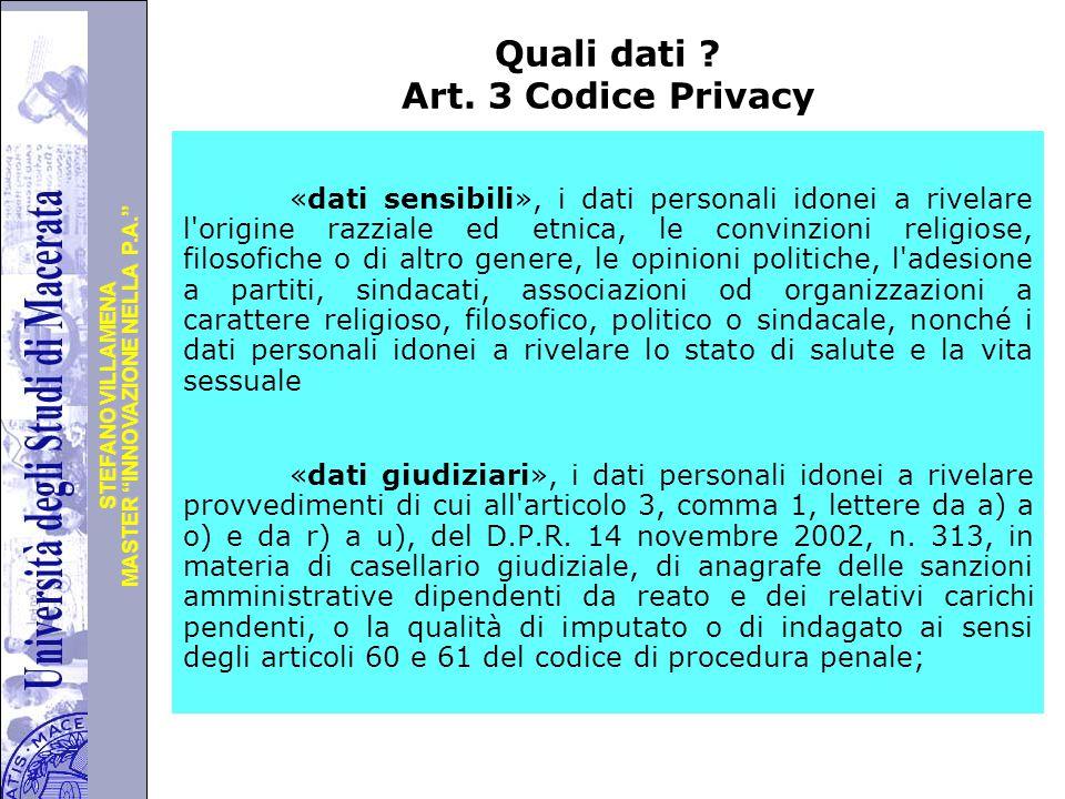 Quali dati Art. 3 Codice Privacy