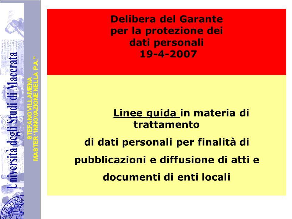 Delibera del Garante per la protezione dei dati personali 19-4-2007