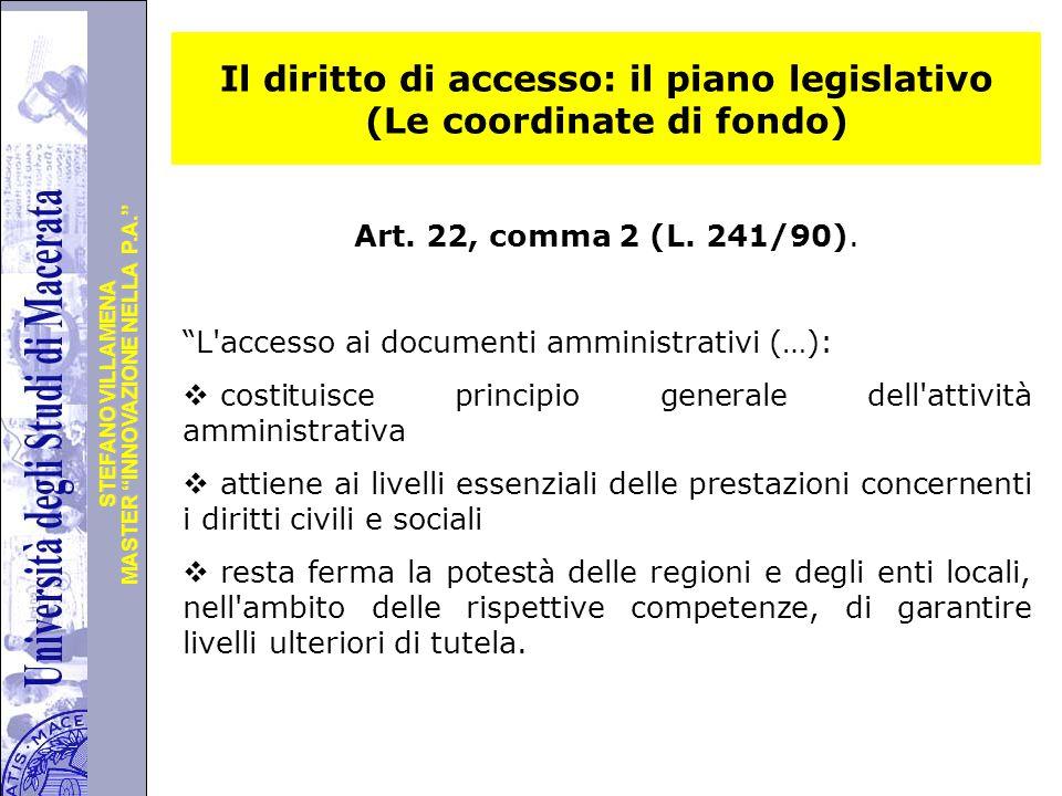 Il diritto di accesso: il piano legislativo (Le coordinate di fondo)