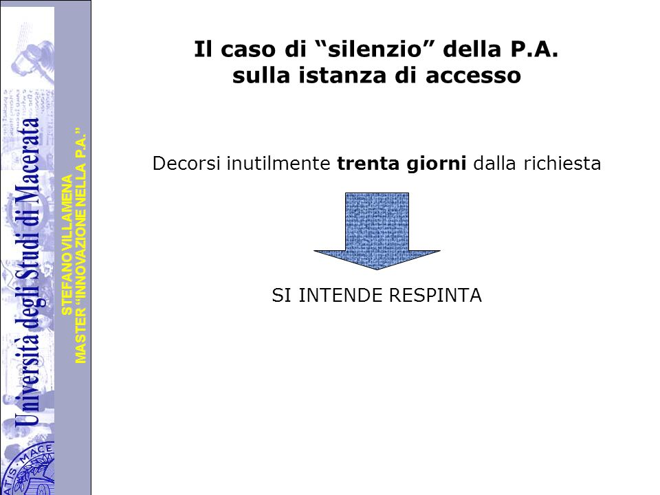 Il caso di silenzio della P.A. sulla istanza di accesso