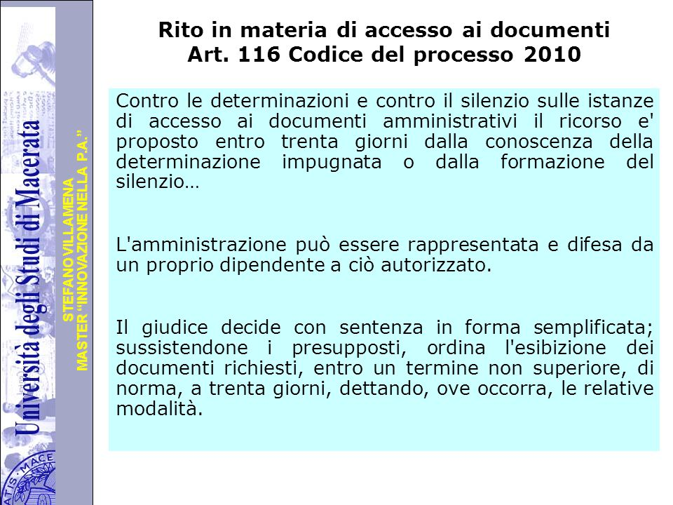 Rito in materia di accesso ai documenti Art
