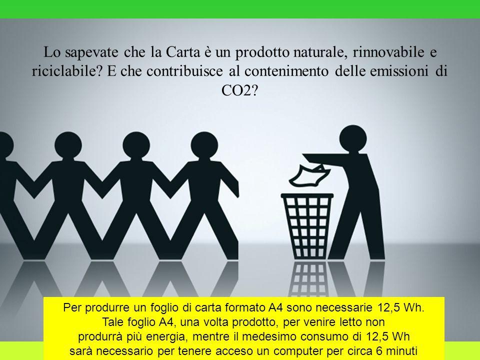 Lo sapevate che la Carta è un prodotto naturale, rinnovabile e riciclabile E che contribuisce al contenimento delle emissioni di CO2