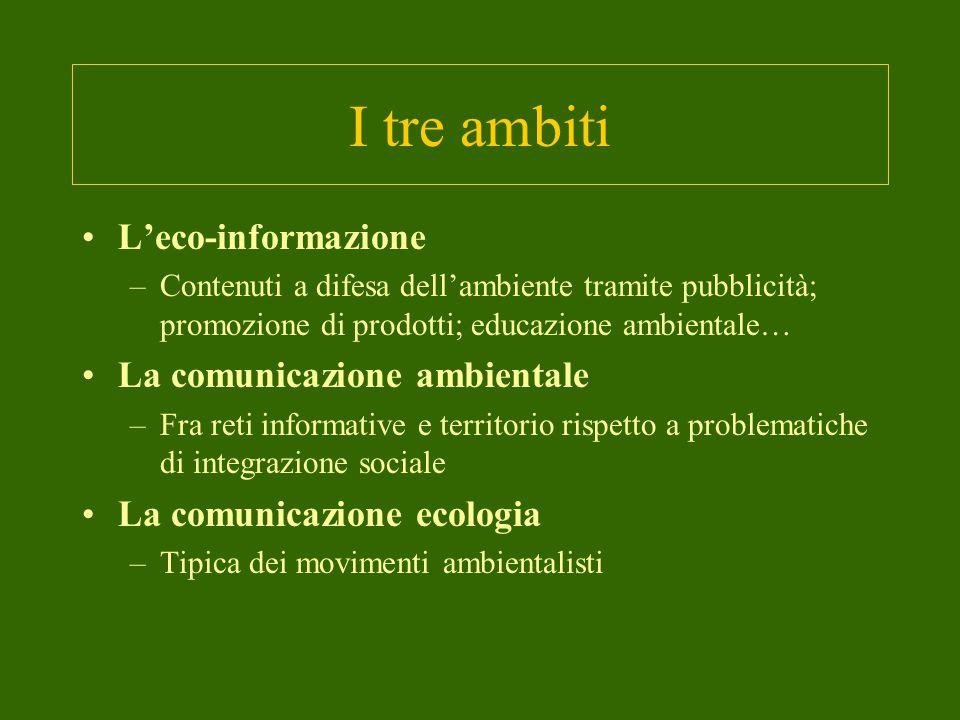 I tre ambiti L'eco-informazione La comunicazione ambientale