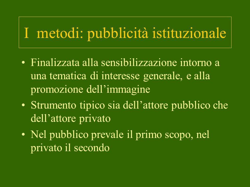 I metodi: pubblicità istituzionale