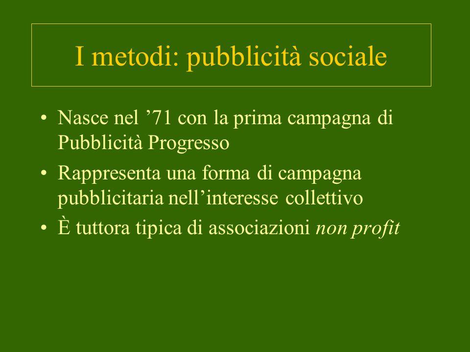 I metodi: pubblicità sociale